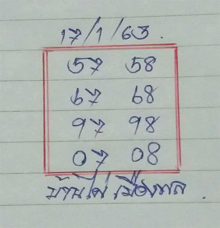 หวยบ้านไผ่เมืองพล 17/1/63