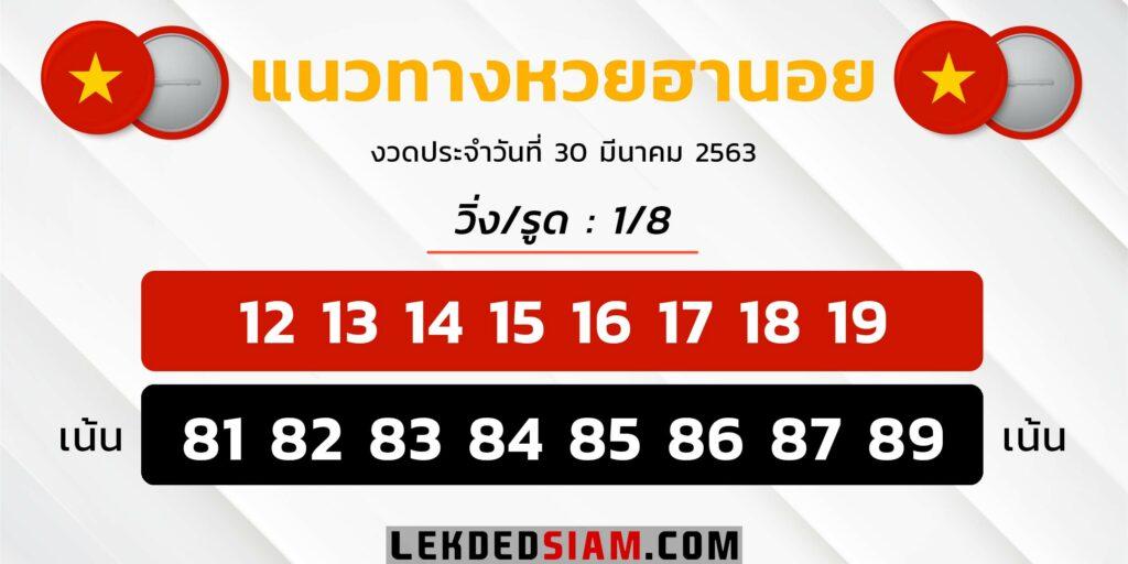 สูตรหวยฮานอย 30/3/63