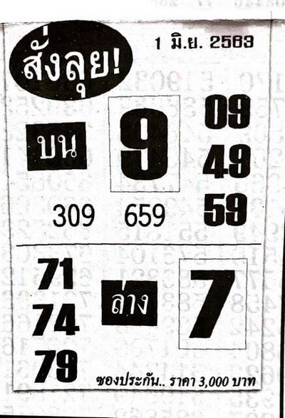 หวยสั่งลุย 1/6/63