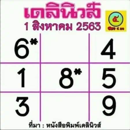 เลขเด็ดเดลินิวส์-1-8-63