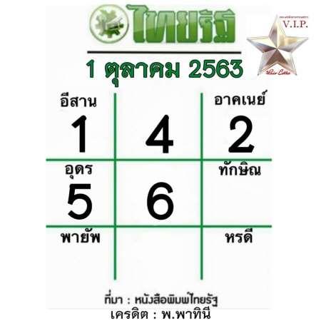 หวยไทยรัฐ-1-10-63