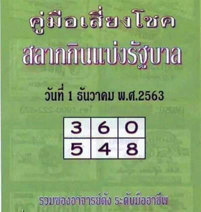หวยปกเขียว-1-12-63
