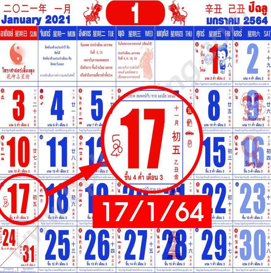 เลขปฏิทินจีน 17 มกราคม