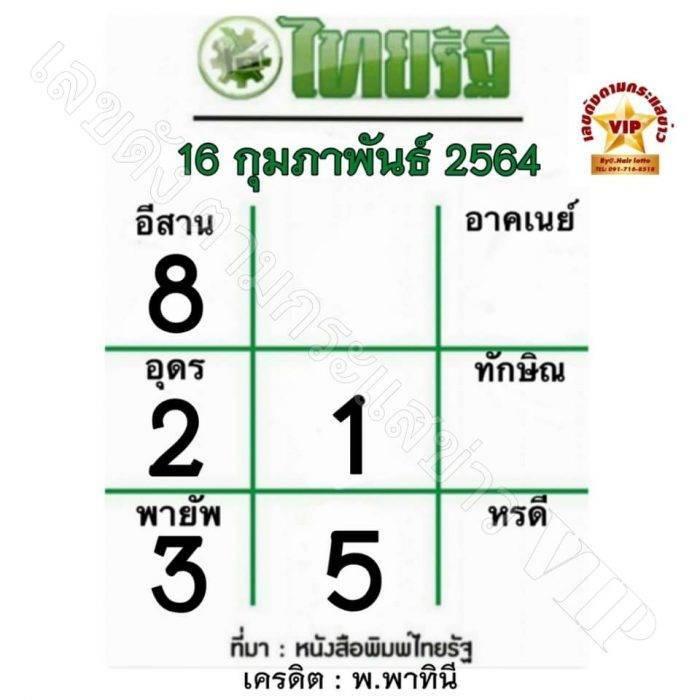 หวยไทยรัฐ-16-2-64