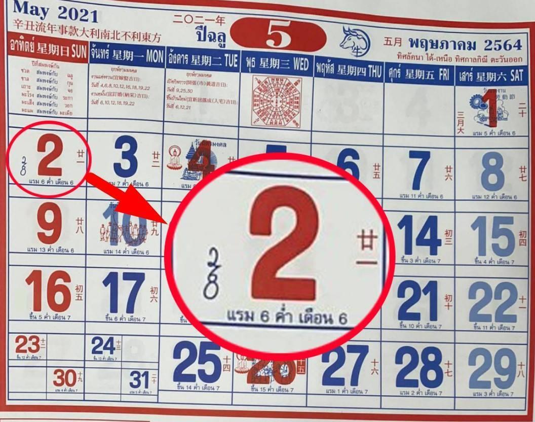 เลขปฏิทินจีน 2 พฤษภาคม