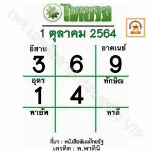 หวยไทยรัฐ-1-10-64